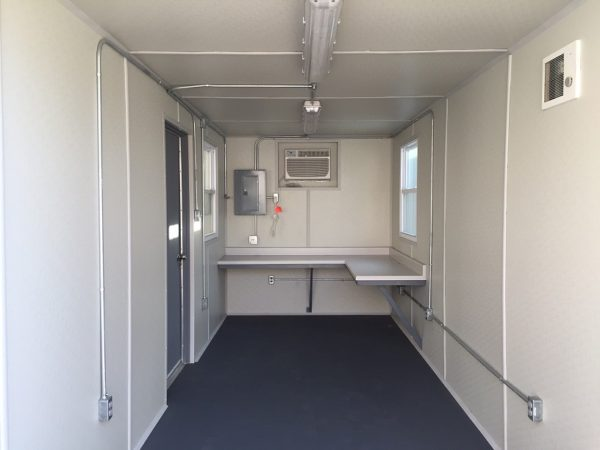 20' Office Modification with Windows, HVAC, L-Desk & Personnel Door