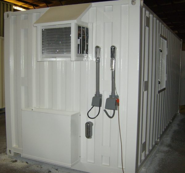 20' Shipping Container Modified With, HVAC, a Pair of Specialized Hubbel Plugs and Other Options