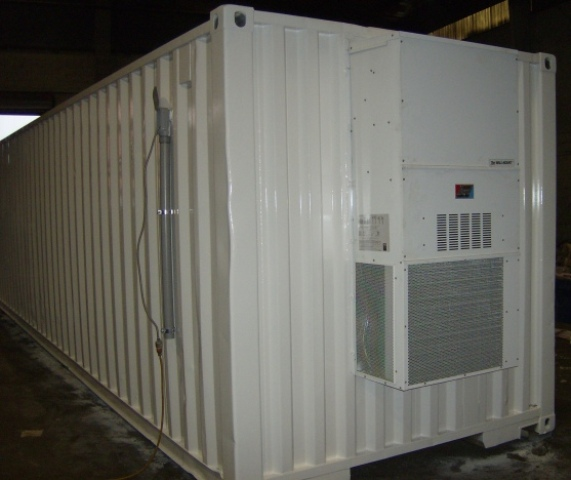 Bard HVAC unit within a modified shipping container