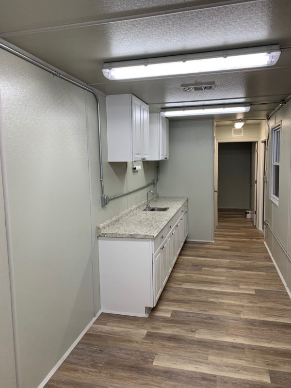 40' Break Room Style Container With Bathroom, Half Kitchen and Small Office