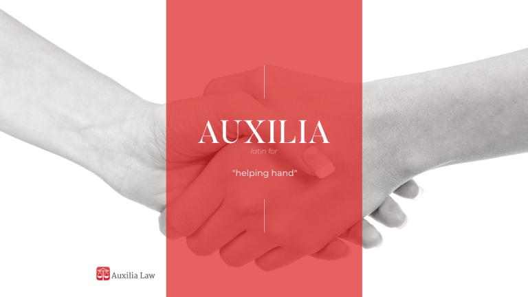 handshake image with auxilia logo