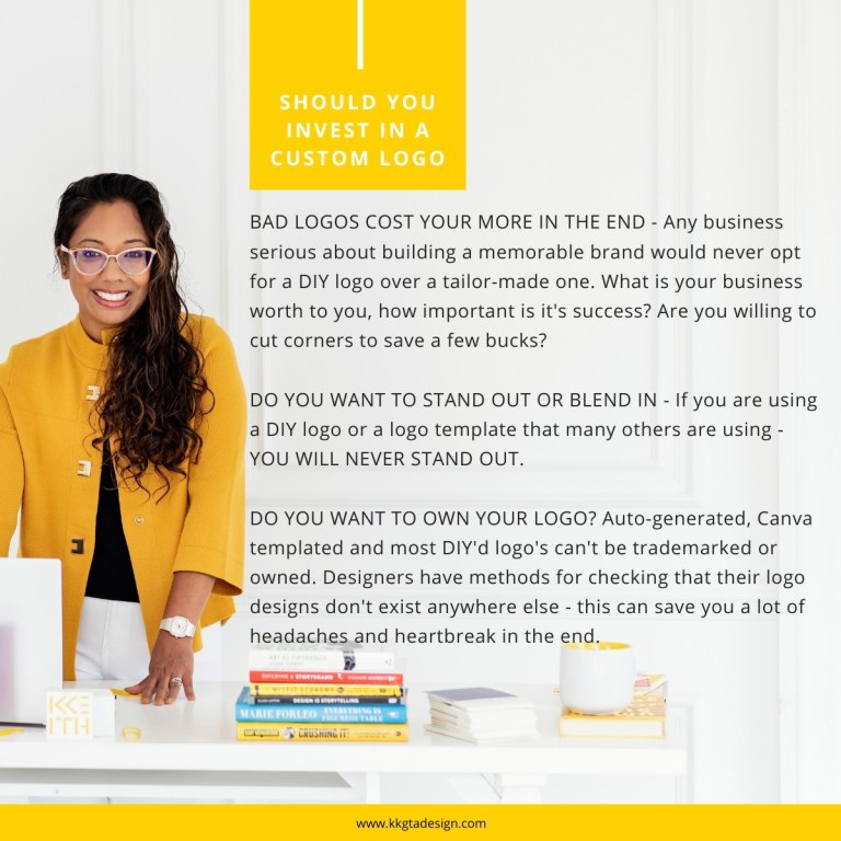 text outlining the cost of bad design. woman in yellow cardigan smiling with hand on desk