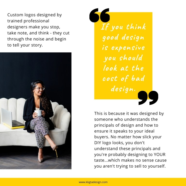 image of woman with dark hair and a caramel complexion looking to the left. Text outlining why professional logos cut thru the noise and look polished