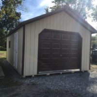 14x24 utility garage, beige w/ Dk. brown trim, brown metal roof