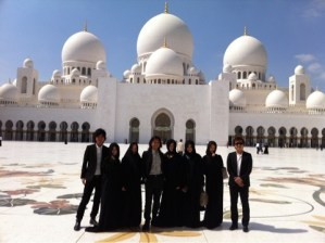 幻想的な世界。白亜のアブダビのモスク