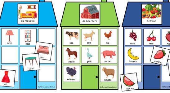 categoriehuisjes woordclusters woordenschat oefenen