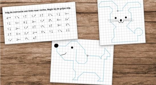 puzzel rekenen route meetkunde figuur tekenen aanwijzingen
