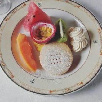 seasonal fresh fruit salad with shortbread and mascarpone cream.