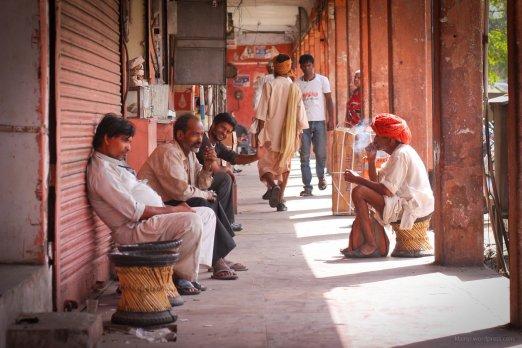 Eine EInkaufsstra?e in Jaipur