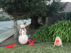 Snowman and cardinals in CA