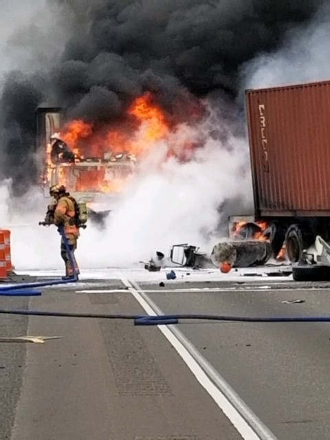 Southbound Lanes On I-5 Near Woodburn Were Closed Overnight Due To Semi Crash And Fire