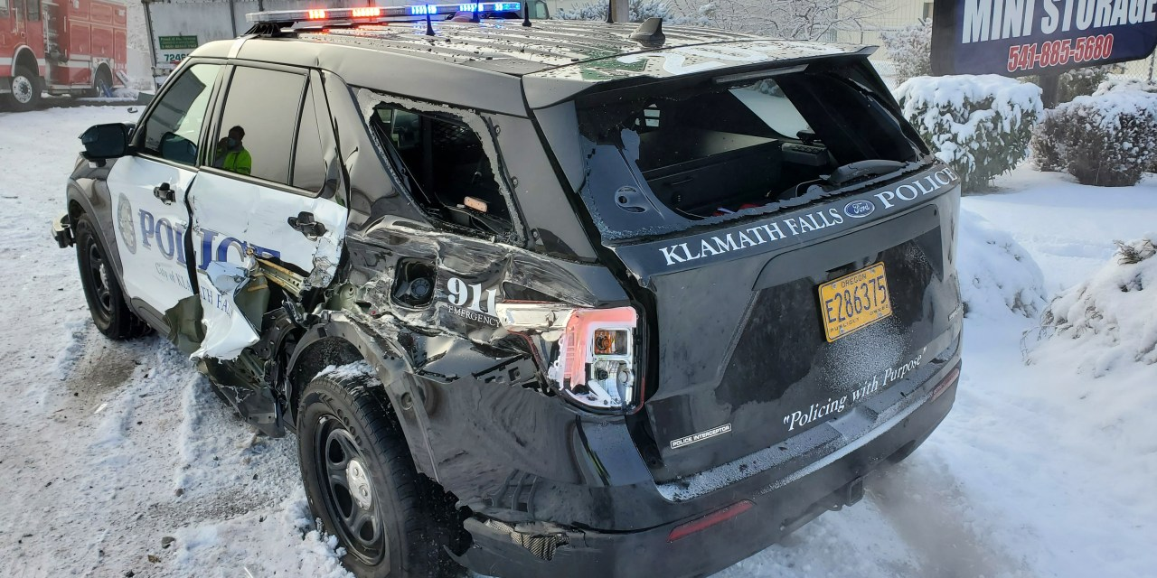 THREE KLAMATH FALLS POLICE VEHICLES AND ONE KLAMATH FALLS FIRE VEHICLE DAMAGED IN A CRASH- KLAMATH COUNTY