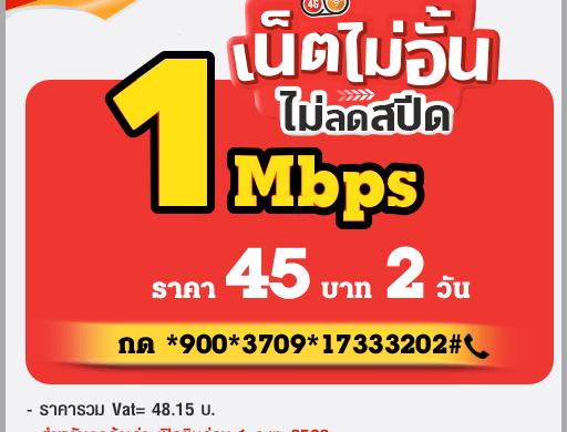โปรเน็ตทรูไม่ลดสปีด 2 วัน 45 บาท 1Mbps
