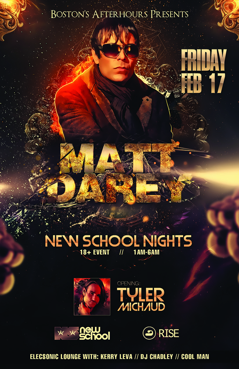 New School Nights Guest: Matt Darey poster graphic design