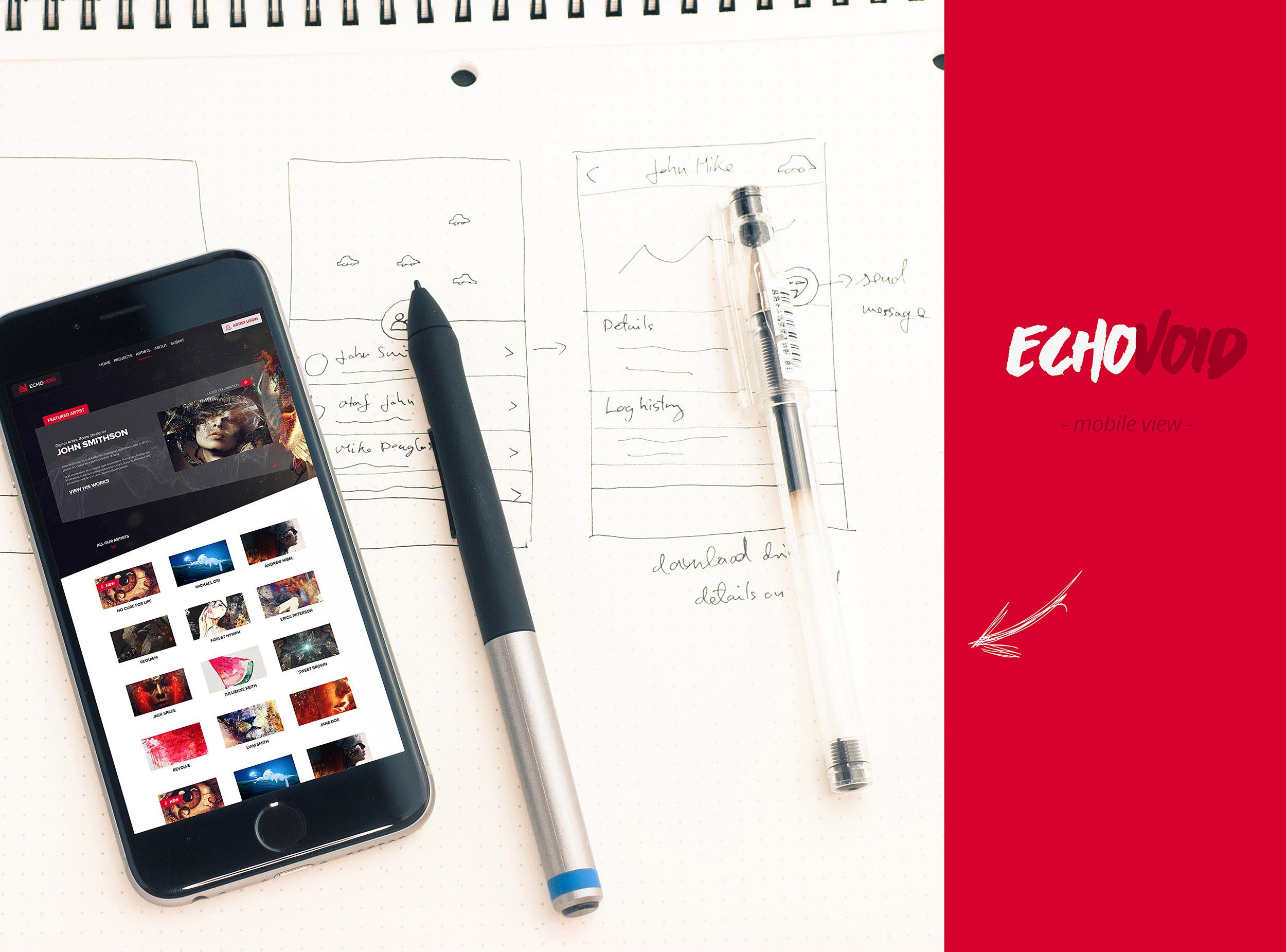 EchoVoid Web Design - Wireframes Mobile