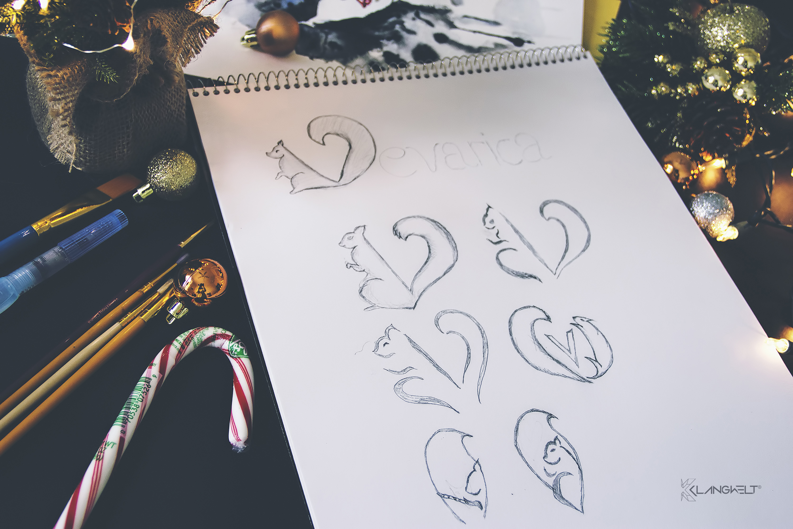 Vevarica logo sketches