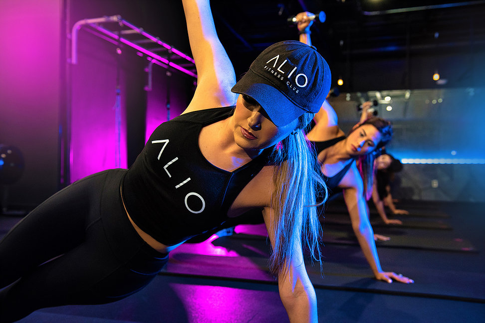 alio fitness club tank top hat logo