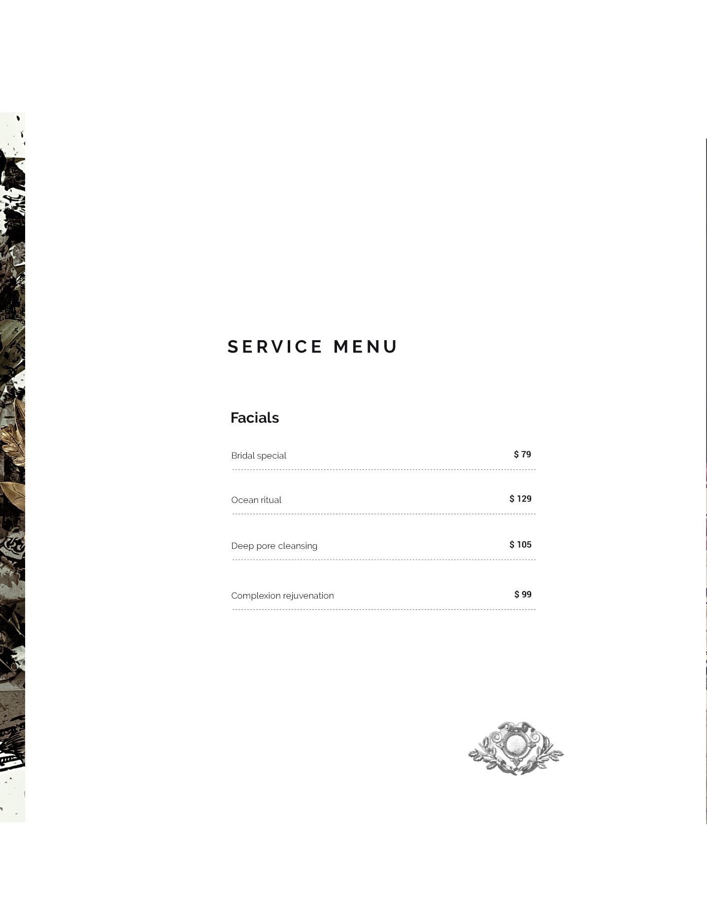 Colosseum luxury spa service brochure design