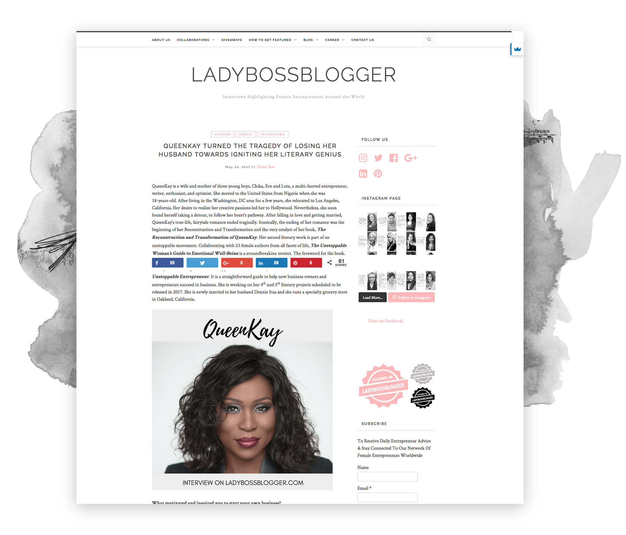 lady boss blogger interview page