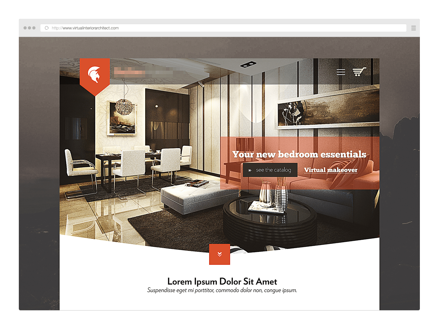 Browser window web design interior architect