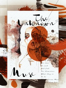 The Unknown Muse IV mixed media watercolor ink and digital art painting