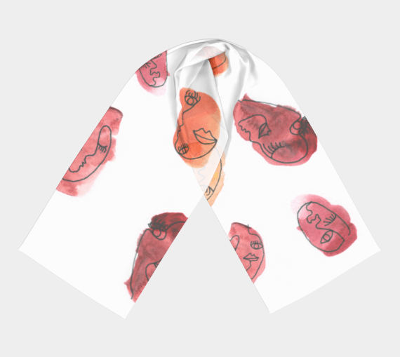 'Dream Fragments' Long Scarf with Watercolor Print