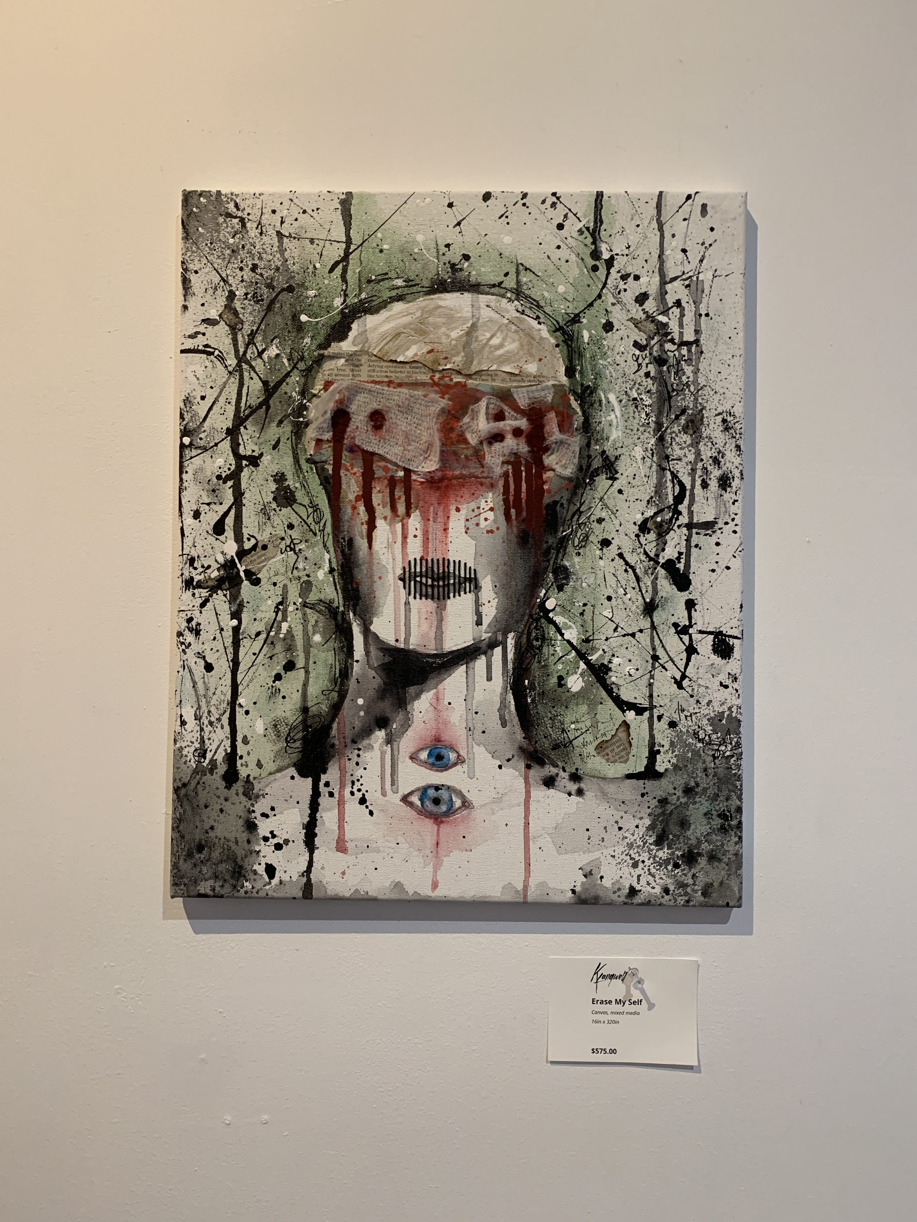 """Erase My Self"" Mixed Media Acrylic Painting on Canvas"