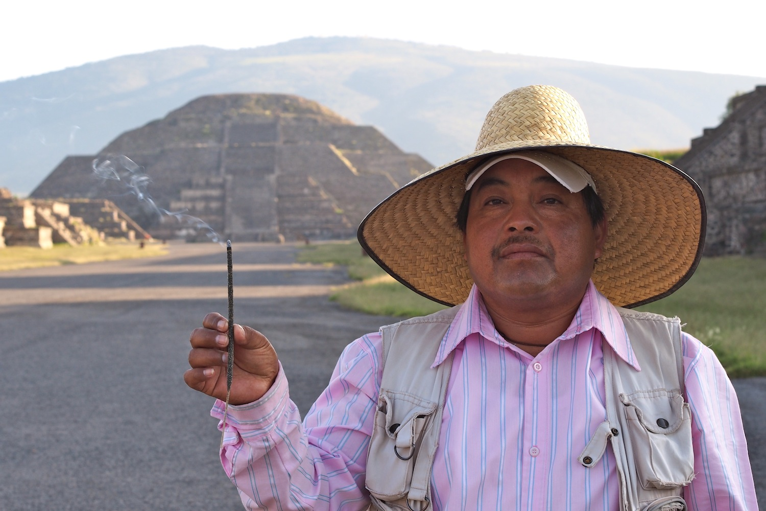 Mexican Guy In Front Of Pyramid Of The Moon Teotihuacan