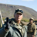 Clint Eastwood við tökur á The Flags of Our Fathers á Reykjanesi 2005.