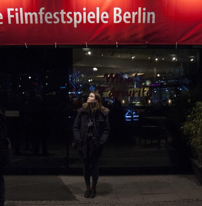 Ása Helga Hjörleifsdóttir við Potsdamer Platz, fimmtudaginn 13. febrúar 2014.