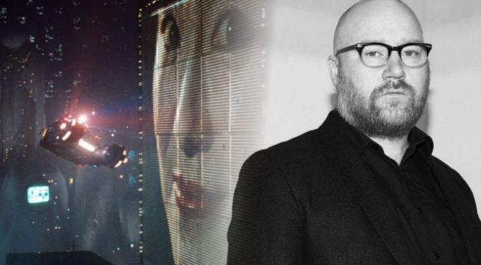 Jóhann Jóhannsson til hægri, rammi úr Blade Runner í bakgrunni. (Samsett mynd: RÚV)