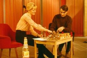 Ónefnd kona og Andrés Indriðason. Hjá DR 1966.