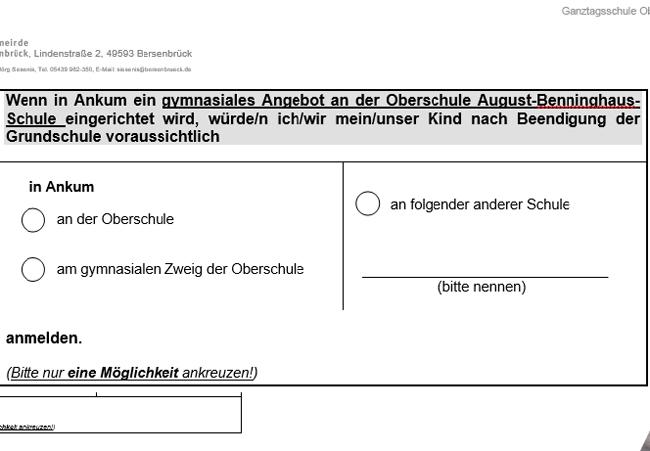 Gymnasialer Zweig in Ankum: Abgabe 9. Nov.