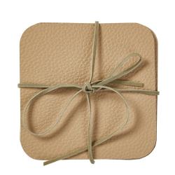 Coaster brun læder look - 4 stk.