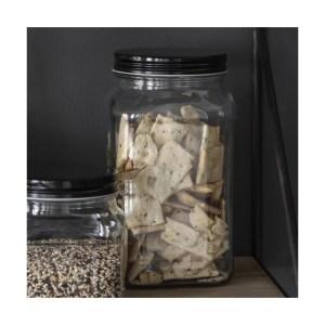 Opbevaringsglas firkantet m/ sort låg - Ib Laursen 1200 ml