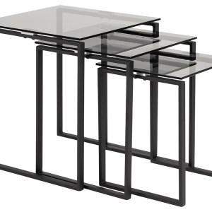 Katrine indskudsborde - røget/sort glas/metal, kvadratisk (sæt á 3)