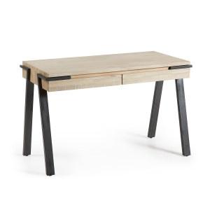 LAFORMA Disset skrivebord - natur akacietræ og metal, m. 2 skuffer, rektangulær (125x60)