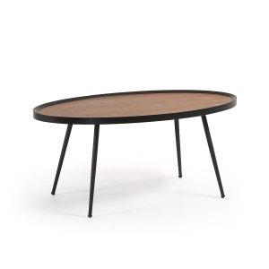 LAFORMA Kamelia sofabord - brun/sort valnøddefinér/metal, oval (102x56)
