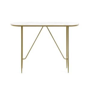 LAFORMA oval Elisenda konsolbord - hvid glas og guld stål (110x35)
