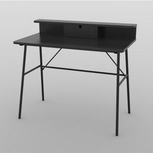 Pascal skrivebord, m. 1 skuffe - sort MDF og metal (100x55)