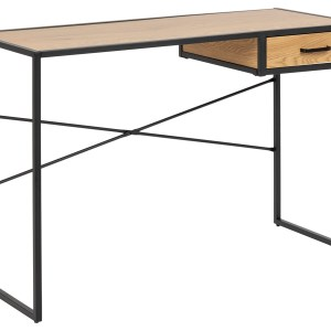 Seaford skrivebord - natur/sort papir vildeg/metal, m. 1 skuffe (110x45)