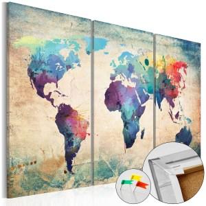 Artgeist verdenskort på lærred - Rainbow Map, kork og genbrugstræ 120x80