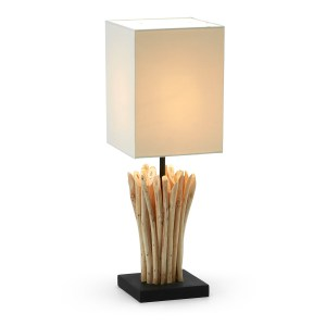 LAFORMA Poob bordlampe - tropisk genbrugstræ og hvid stofskærm (15x15)