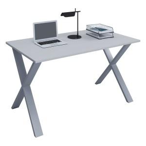 Lona X-feet skrivebord - grå træ og sølvgrå metal (140x50)