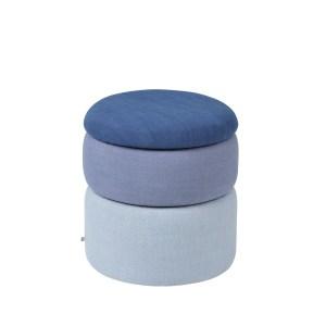 BROSTE COPENHAGEN Pond puf - blå polyester (Ø38)