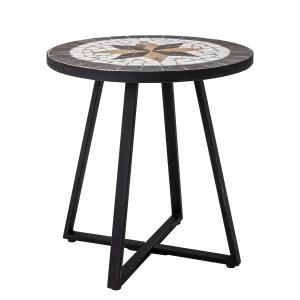 BLOOMINGVILLE Inaz sidebord, rund - sort/hvidt/brunt sten/keramik/metal (Ø 45)