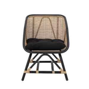 BLOOMINGVILLE Loue loungestol, m. armlæn og hynde - sort/natur rattan