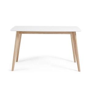 LAFORMA Unit spisebord, rektangulær - mat hvidt træ og natur ask (140x80)