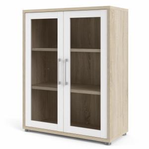 Prima kontorreol, m. 2 glaslåger - egetræsfarvet og hvid folie