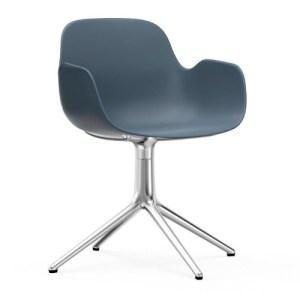 Normann Copenhagen Form drejestol med armlæn Blue - Alu